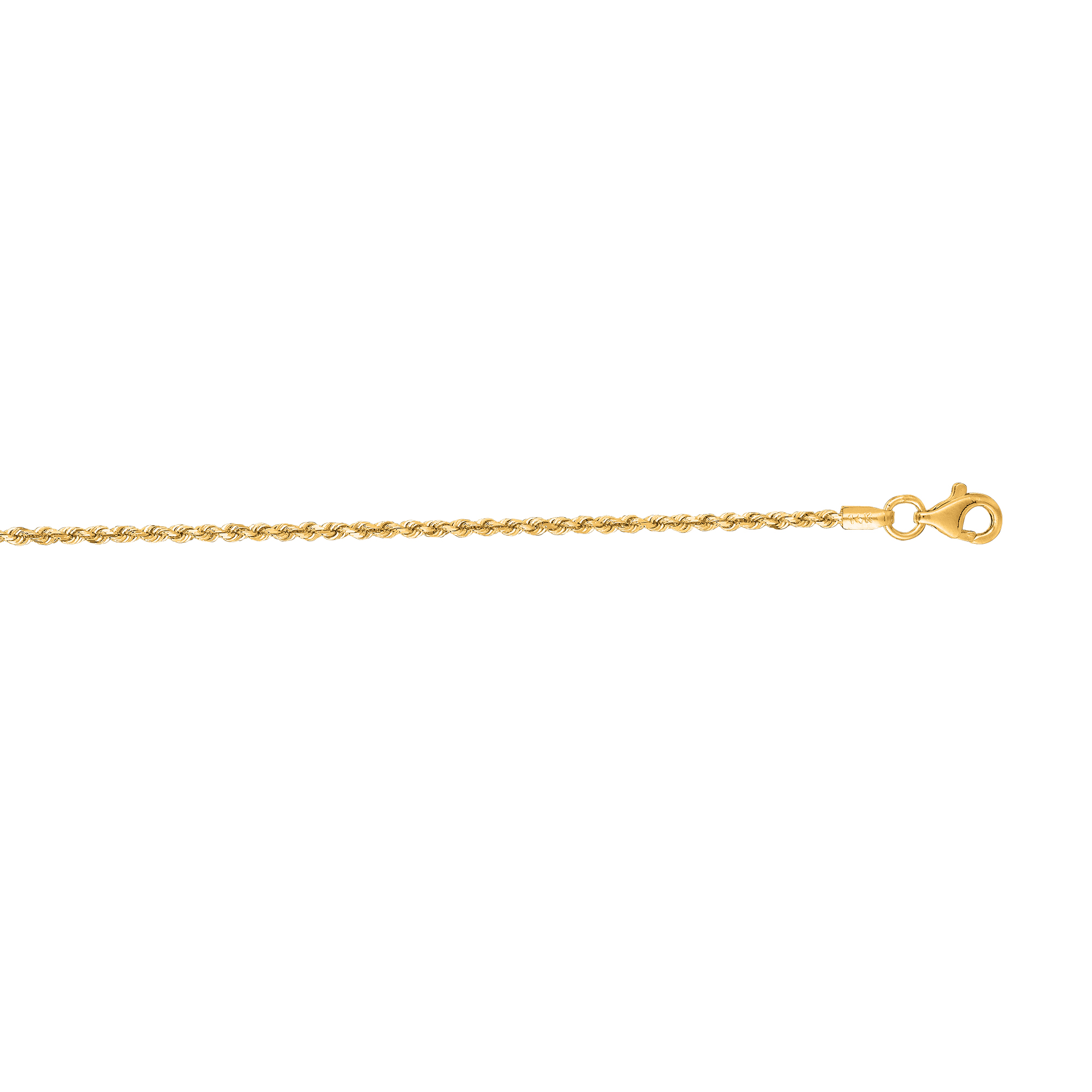 14k Yellow Gold D/C 10 Inch X 1.5 mm Rope Chain Anklet