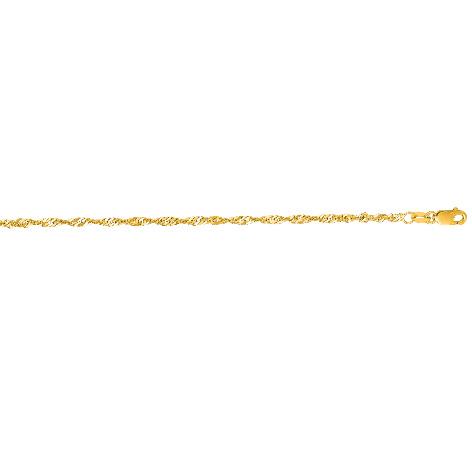14k Yellow Gold 10 Inch X 2.1 mm Singapore Chain Anklet