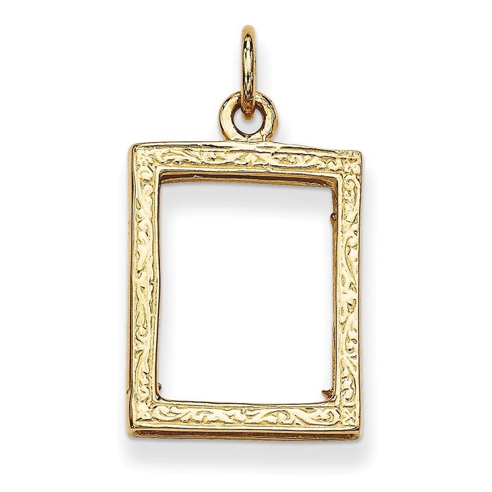 14k gold small picture frame pendant 2 1 grams ebay