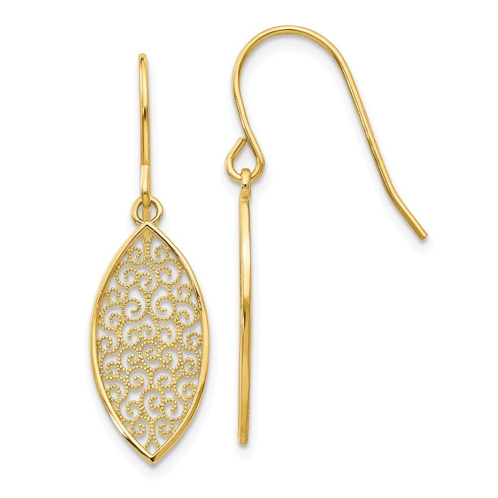 14k gold fancy filigree teardrop dangle earrings 1 3. Black Bedroom Furniture Sets. Home Design Ideas