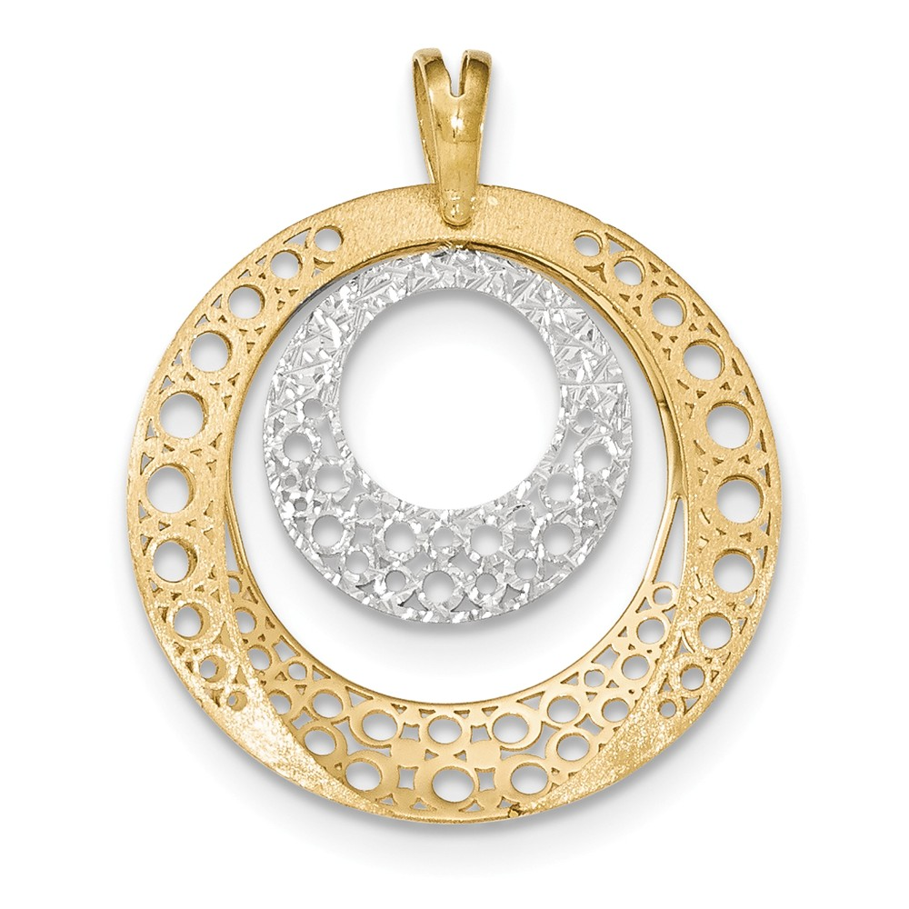 14k two tone gold polished brushed round pendant ebay for What is gold polished jewelry