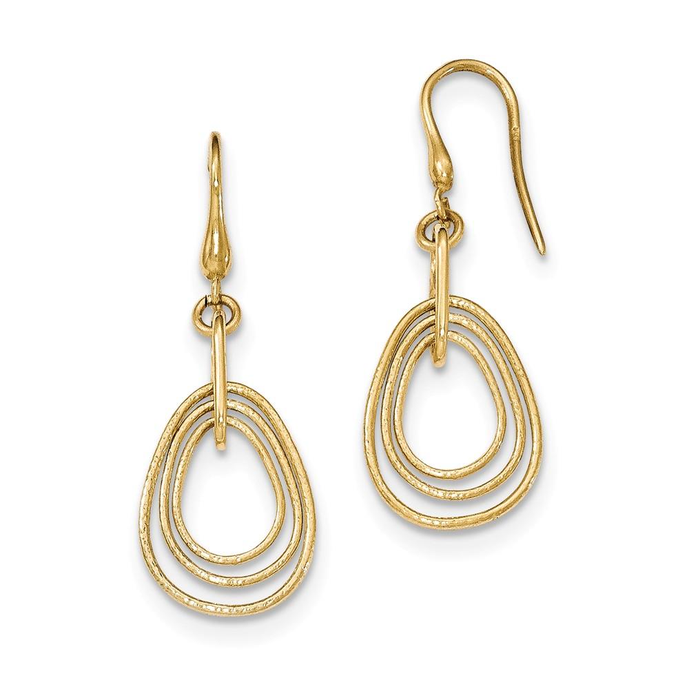 14k yellow gold teardrop dangle shepherd hook earrings. Black Bedroom Furniture Sets. Home Design Ideas