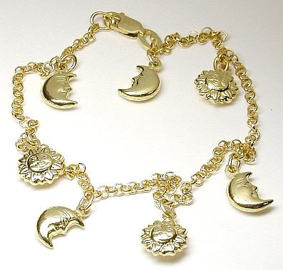 Unusual Moon Sun Charm Ankle Bracelet