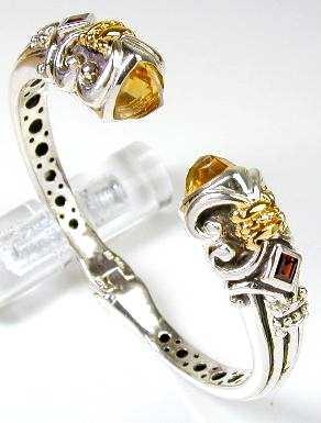 Samuel B Citrine Garnet Bracelet