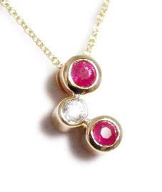 Bezel Ruby & Diamond Bubbles Pendant
