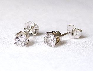 .33 CTW Round Diamond Stud Earrings (1/3ctw - I1/2 - J-K)
