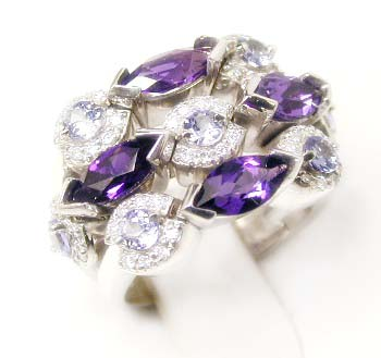 Effy Collection Tanzanite / Amethyst & Diamond Ring