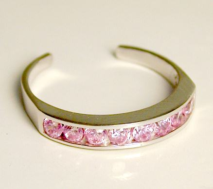 Jewelryweb Channel-set Pink Cubic Zirconia CZ Eternity Toe Ring at Sears.com