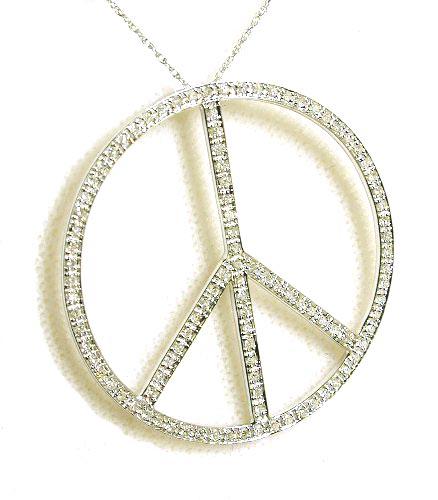 Trendy bold diamond peace sign pendant 044 carats in 14k white trendy bold diamond peace sign pendant mozeypictures Choice Image