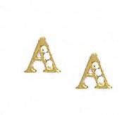 Jewelryweb 14k Yellow 1.5 mm Round CZ Initial A Post Earrings