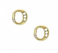Jewelryweb 14k Yellow 1.5 mm Round CZ Initial O Post Earrings