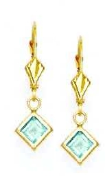 Jewelryweb 14k Yellow 5 mm Square Topaz-Blue CZ Drop Earrings