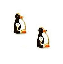 14k Yellow Black and White Enamel Childrens Penguin Earrings