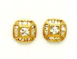 Jewelryweb 14k Yellow Princess and Baguette CZ Fancy Earrings