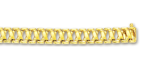 10k Yellow Fancy Link Bracelet - 7.25 Inch