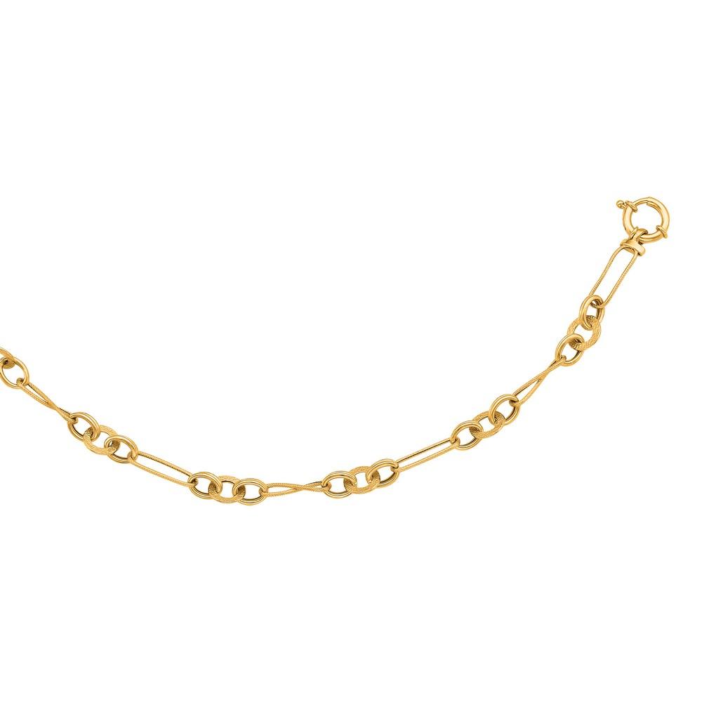 14k Yellow Twisted Design Fancy Link Bracelet - 7.5 Inch