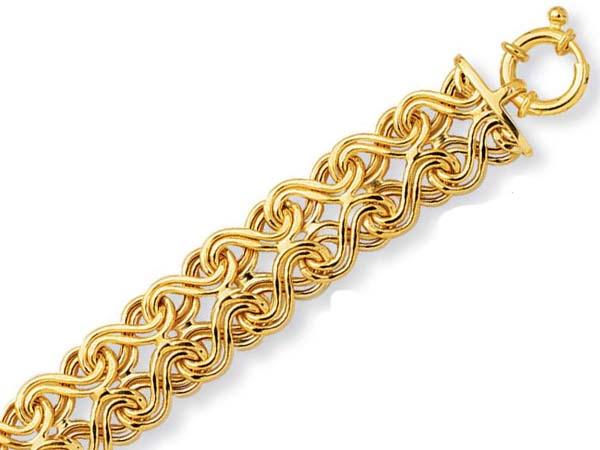 14k Yellow Fancy Overlapped Design Bracelet - 7.5 Inch