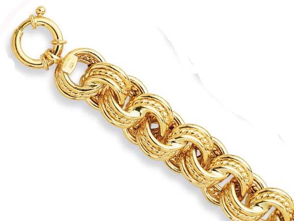 14k Yellow Fancy Link Bracelet - 8 Inch