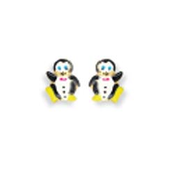 14k Yellow Penguin Shaped Childrens Stud Enamel Earrings