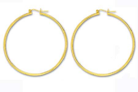 10k Yellow 2x55 mm Tubular Hoop Earrings