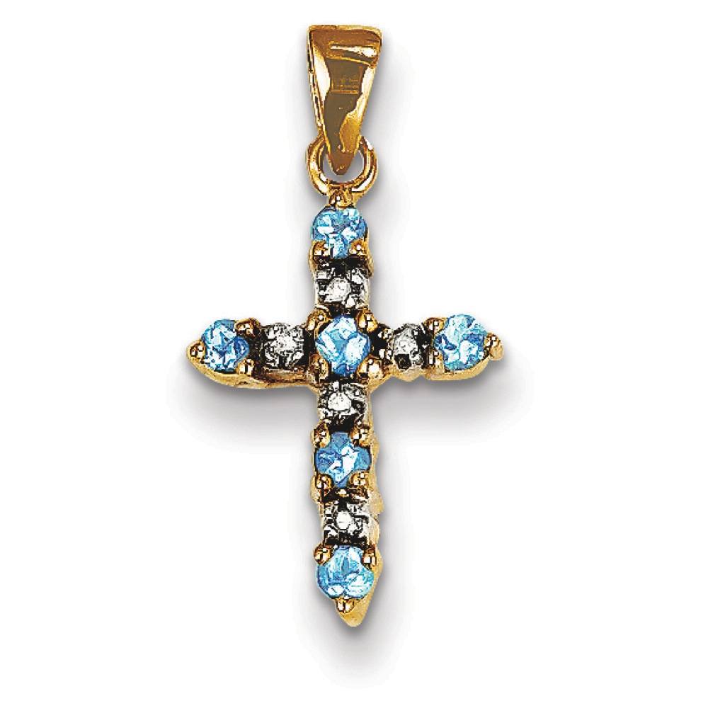 Jewelryweb 14k Blue Topaz and Rough Diamond Cross Pendant