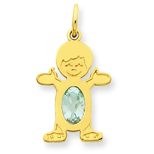 Jewelryweb 14K Boy 7x5 Oval Genuine Aquamrine March Birthstone Pendant at Sears.com