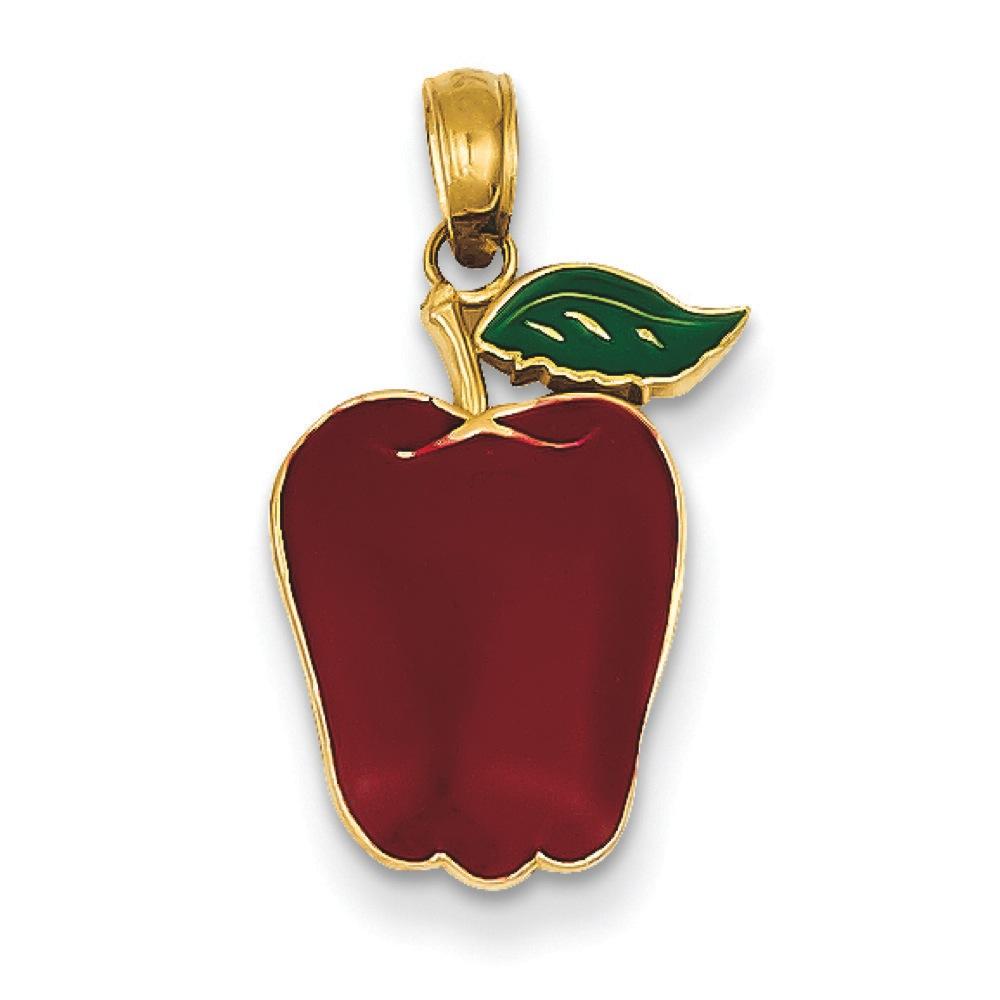 Jewelryweb 14k Enameled Apple Pendant