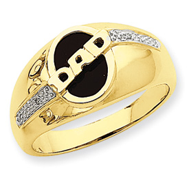 Jewelryweb 14k Onyx and Rough Diamond Mens Dad Ring - Size 10