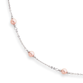 Jewelryweb 16in Rhodium-plated Small Pink Glass Pearl Necklace 16 Inch