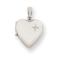 Jewelryweb 18in White-plated .01 Ct. Diamond Heart Locket Necklc 18 In