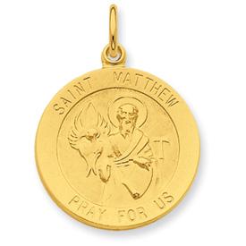Jewelryweb 24k Gold-plated Sterling Silver Saint Matthew Medal Pendant