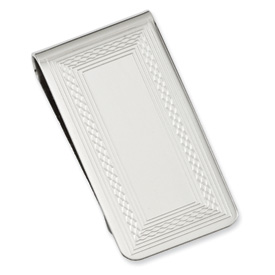 Jewelryweb Silver-plated and Rhodium Patterned Border Money Clip
