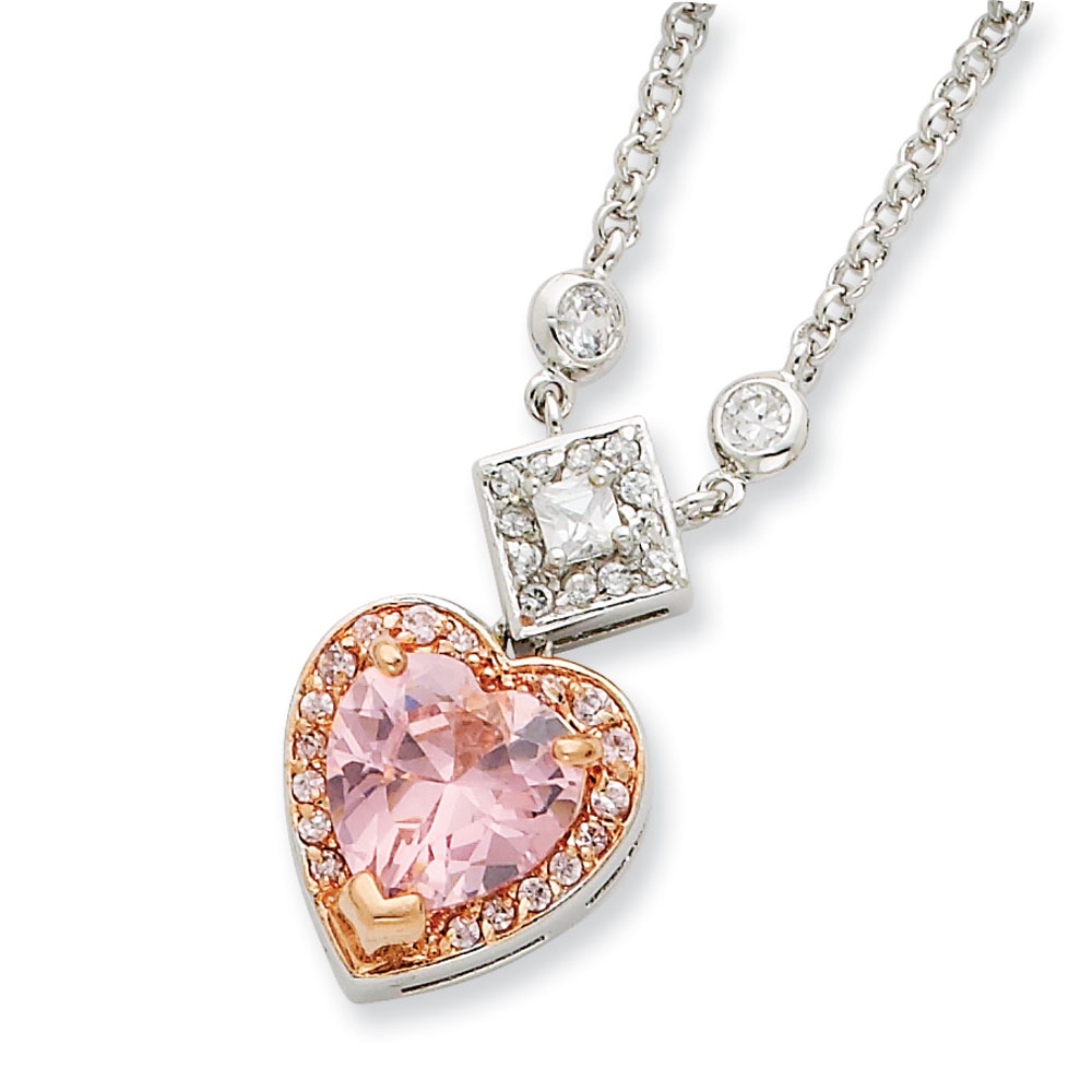 Jewelryweb Sterling Silver and Pink Vermeil CZ Heart Necklace - 16 Inch - Spring Ring at Sears.com