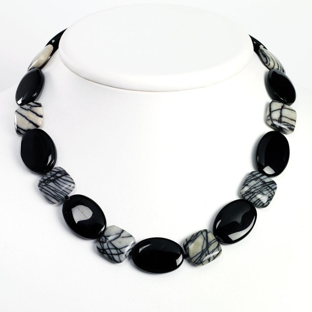 Jewelryweb Sterling Silver Black Agate Zebra Jasper Necklace - 17 Inch - Toggle at Sears.com