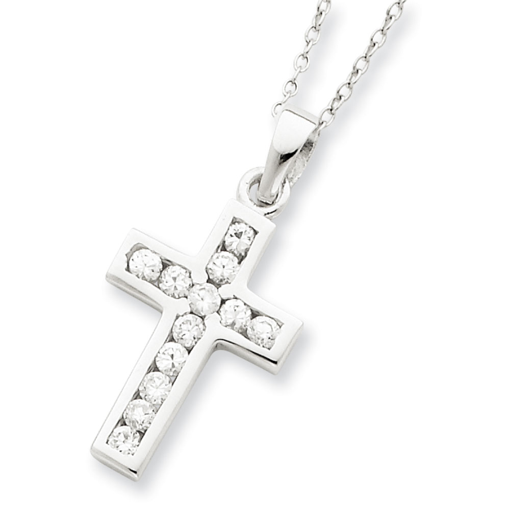 Jewelryweb Sterling Silver CZ Cross 16 Box Chain Necklace - 16 Inch - Spring Ring at Sears.com