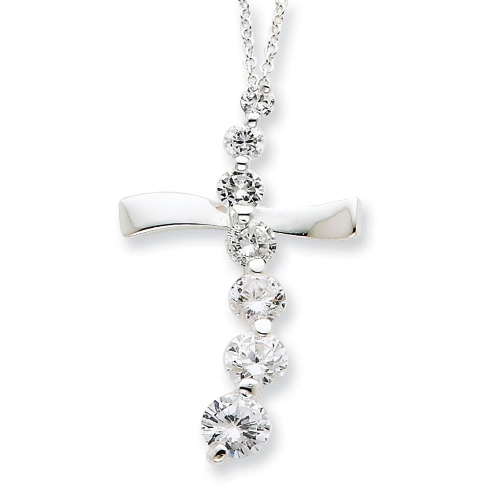Jewelryweb Sterling Silver CZ Cross Journey Necklace - 18 Inch - Spring Ring at Sears.com