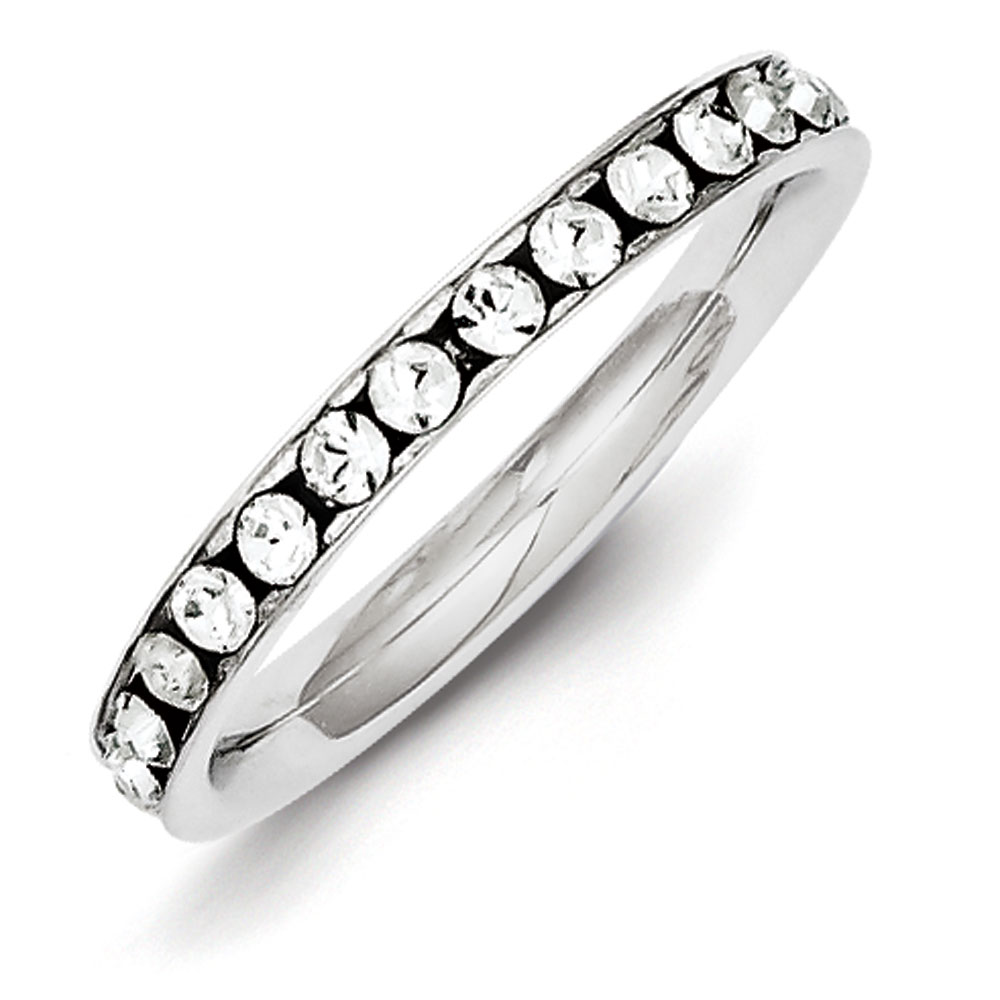 Jewelryweb Sterling Silver CZ Eternity Band Ring - Size 8 at Sears.com