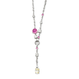 Jewelryweb Sterling Silver Light Yellow Pink CZ Drop Necklace - 16 Inch - Spring Ring at Sears.com
