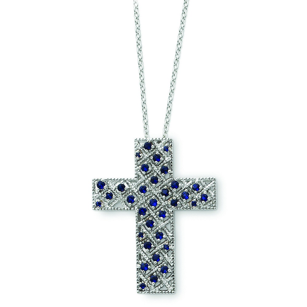 Jewelryweb Sterling Silver September CZ Cross Necklace - 18 Inch at Sears.com