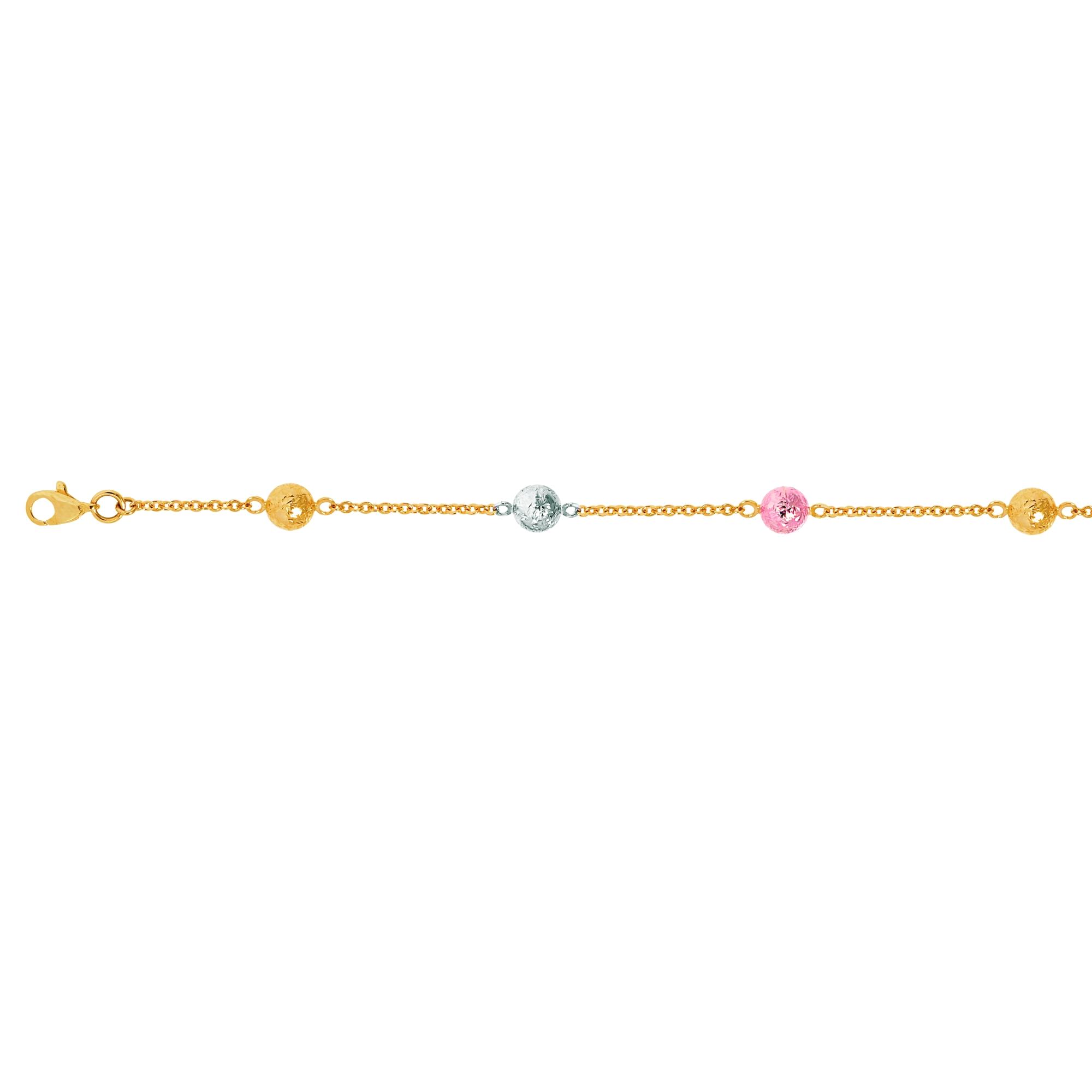 Jewelryweb 14k Tri-Color Pebble Bracelet - 7 Inch
