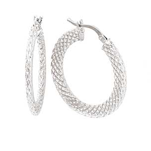 Jewelryweb 14k White Gold Weave Hoop Earrings