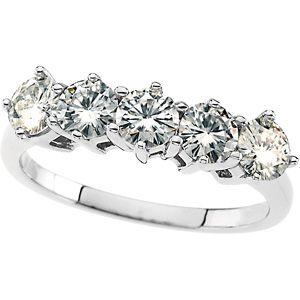 Jewelryweb 14k Wht Gold Moissanite Anniv. Band Ring 4mm 1 1/4ct Sz 6 at Sears.com