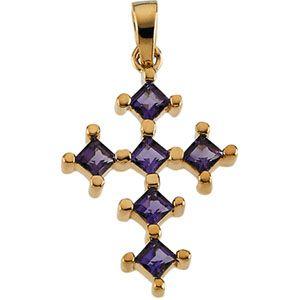 Jewelryweb 14k Yellow Gold Genuine Amethyst Cross 3mm