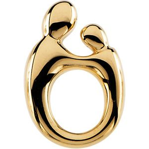 Jewelryweb 14k Yellow Gold Mother And Child Small Pendant 14.5x9.75mm