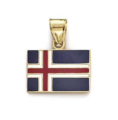 Jewelryweb 14k Enamel Iceland Flag Pendant