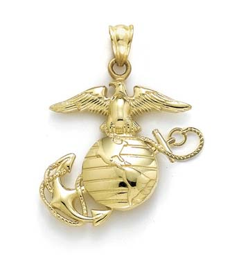 14k yellow gold medium polished marine corps emblem. Black Bedroom Furniture Sets. Home Design Ideas
