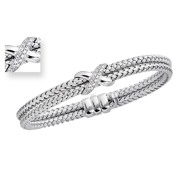 Jewelryweb 14K White Gold 7.25 Inch Basketweave Bangle Bracelet at Sears.com