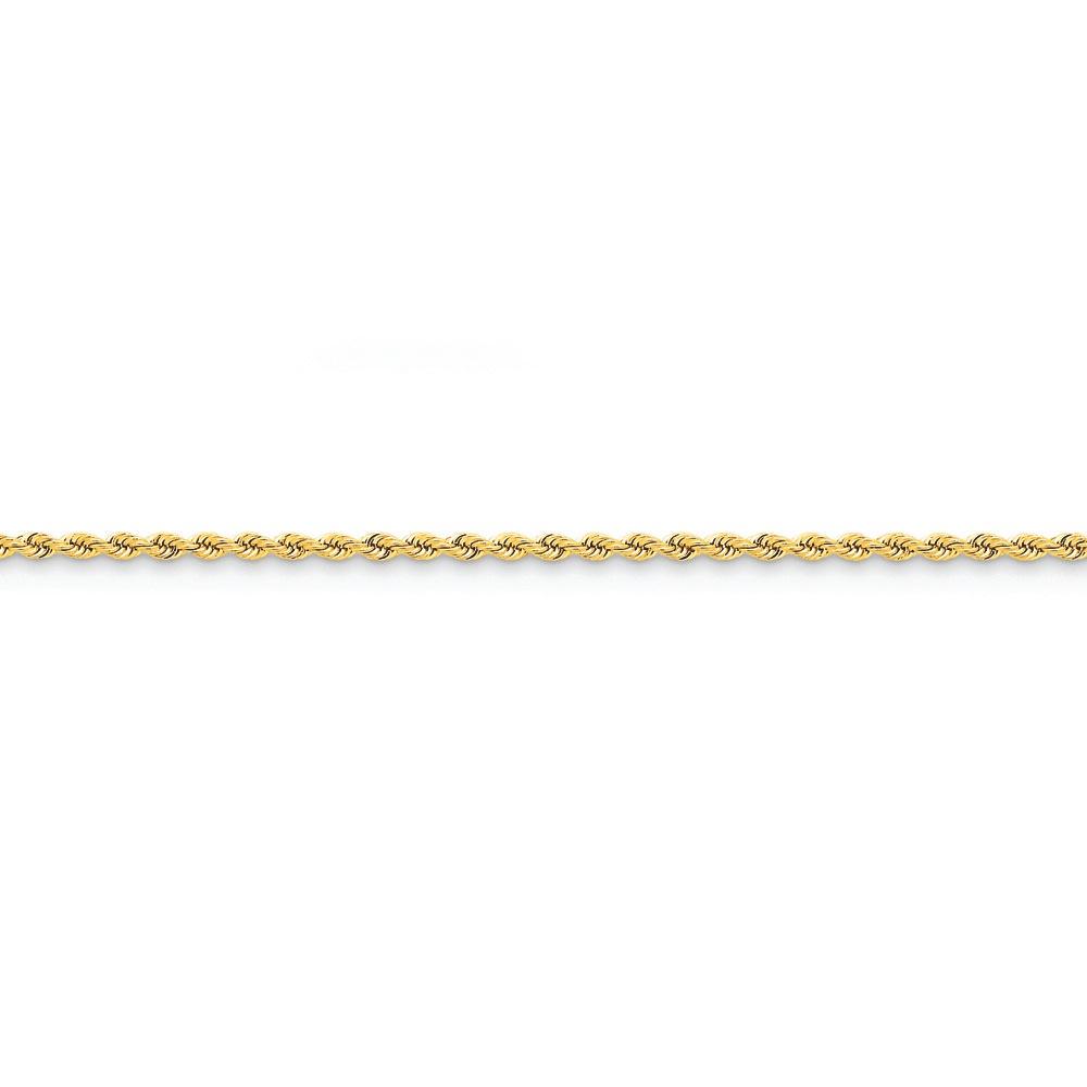 Jewelryweb 14k Gold 2.25mm Handmade Regular Rope Chain Ankle Bracelet - 10 Inch
