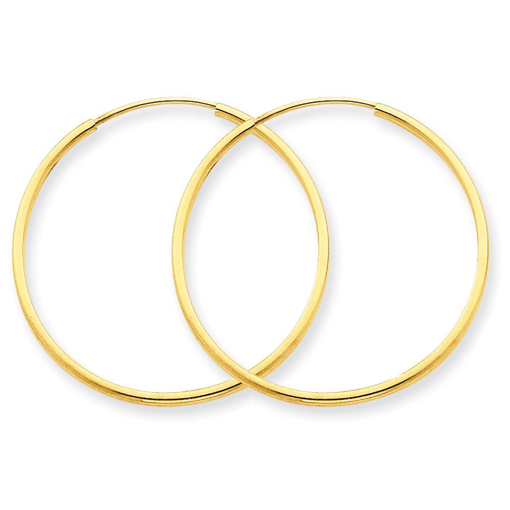 Jewelryweb 14k 1.25mm Endless Hoop Earrings