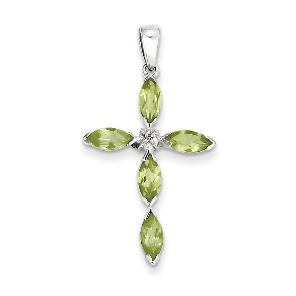 Jewelryweb Sterling Silver Rhodium Peridot and Rough Diamond Cross Pendant at Sears.com